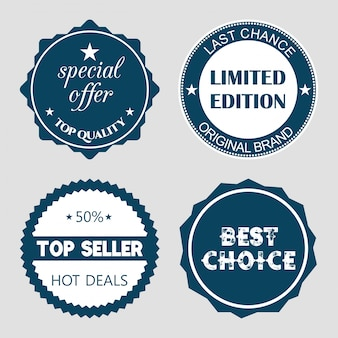 Set van platte ontwerp verkoop stickers Vector illustraties voor online shopping product promoties website en mobiele website badges advertenties afdrukmateriaal