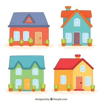 Set van prachtige handgetekende gevels huizen
