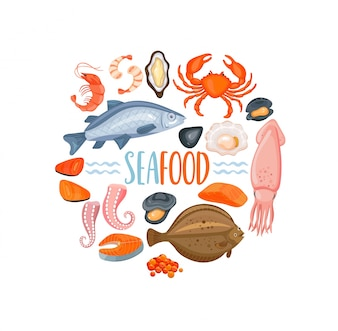 Set van Seafod iconen in cartoon stijl, vector.
