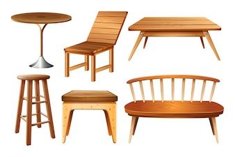 Set van stoelen en tafels