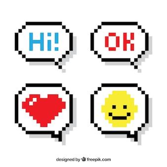 Set van tekstballonnen met berichten en pictogrammen