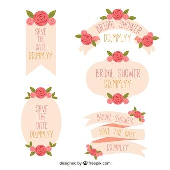 Set van trouwfoto linten met mooie bloemen in plat design