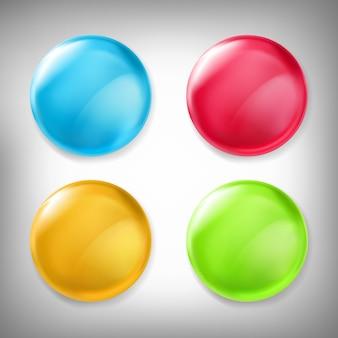Set van vector 3D-ontwerpelementen, glanzende iconen, knoppen, badge blauw, rood, geel en groen geïsoleerd op grijs.
