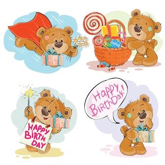 Set van vector clip art illustraties van bruine teddybeer wenst u een fijne verjaardag.