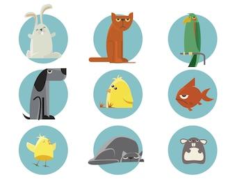 Set van vector geïllustreerde dieren. Voor gratis ontwerp