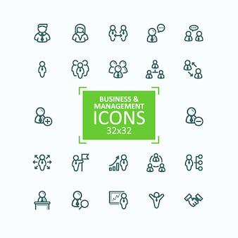 Set van vector illustraties fijne lijn iconen, verzameling van zakelijke mensen iconen, personeelsbeheer