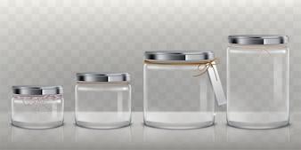 Set van vector transparante glazen potten voor het opslaan van voedingsmiddelen, inblikken en conserveren,