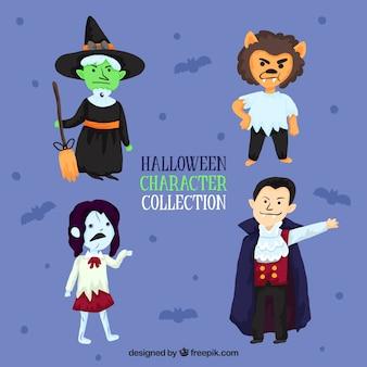 Set van vier grappige handgetekende karakters
