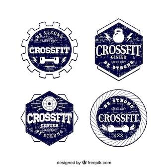 Set van vier hand getekende crossfit stickers