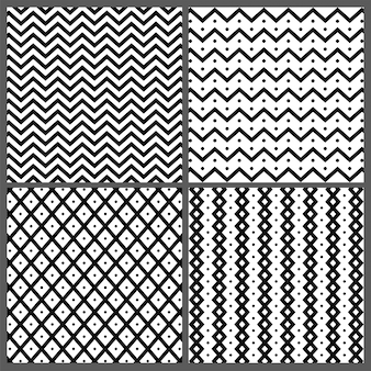 Set van vier handgetekende abstracte naadloze patronen met zigzag, golvende strepen en lijnenstructuren.