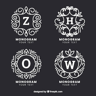 Set van vier handgetekende monogrammen