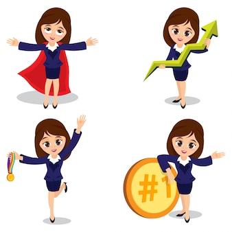 Set van vier jonge zakenvrouwen personages in verschillende pose