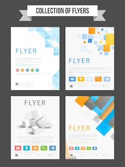 Set van vier professionele flyers met abstracte ontwerp elementen voor bedrijven