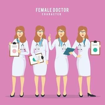 Set van vier schoonheid vrouwelijke artsen in verschillende posities