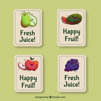 Set van vier stickers met waterverf vruchten