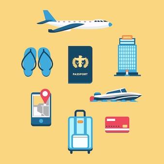 Set van vliegtuig met paspoort en andere reiselementen