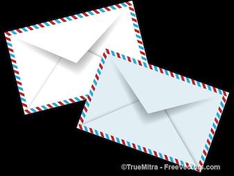 Set van witte enveloppen vector