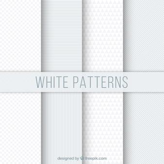 Set van witte geometrische patronen