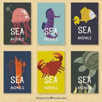 Set van zeedieren kaarten