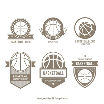 Set van zes basketbal logos