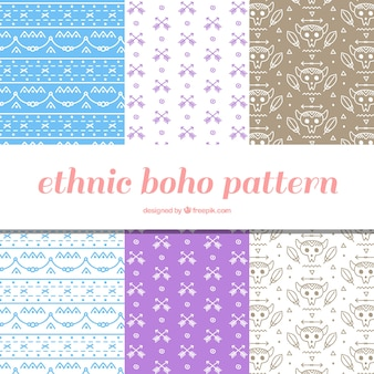 Set van zes boho patronen in plat design