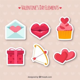 Set van zes elementen klaar voor Valentijnsdag