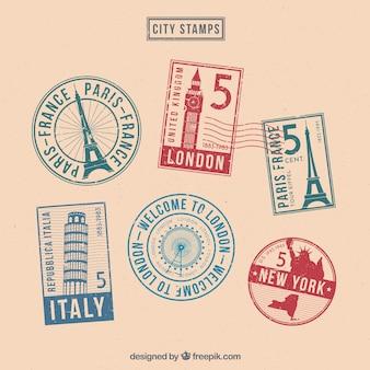 Set van zes gekleurde postzegels