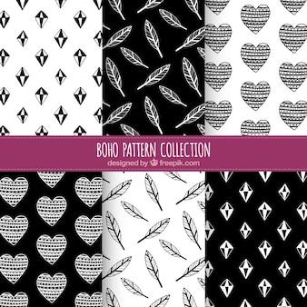 Set van zes zwarte en witte boho patronen
