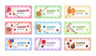 Set van zoete lollipop vector banners.