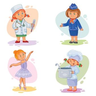 Set vector iconen van kleine kinderen verschillende beroepen