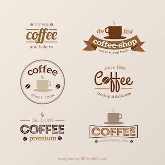 Set vintage logos voor koffieshops
