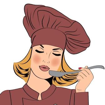 Sexy blonde chef-kok vrouw in uniform smaak van het eten
