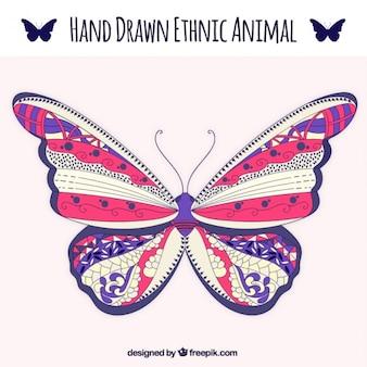 Sier met de hand getekende vlinder
