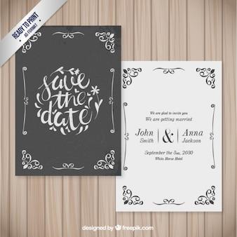 Sier trouwkaart in retro stijl