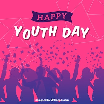 Silhouetten achtergrond van mensen die de jeugddag vieren