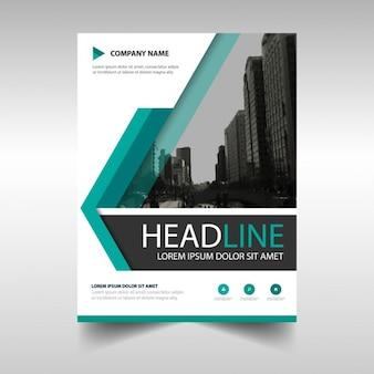 Sjabloon voor brochure met geometrische vormen, blauwe kleur