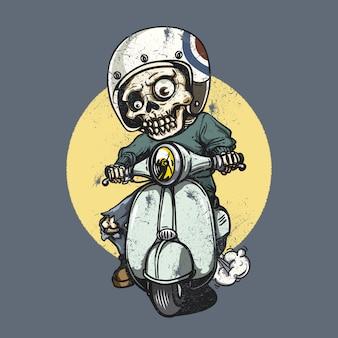 Skelet met een motorfiets