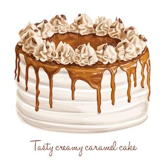 Smakelijke romige karamelcake