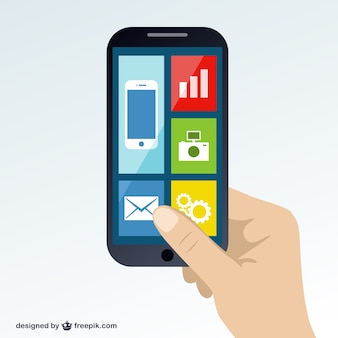 Smartphone in de hand gratis vector
