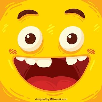 Smiley achtergrond in handgetekende stijl