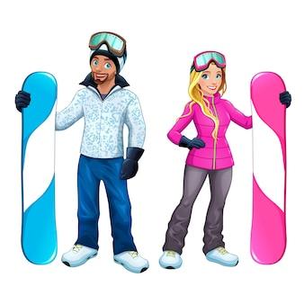 Snowboarders jongen en meisje geïsoleerd Vector stripfiguren