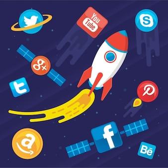 Social Media Icon Pack met Spaceship