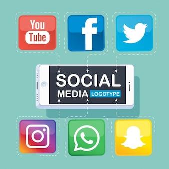Social media logotype met smartphone