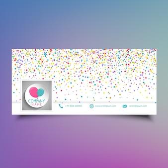 Social media tijdlijn cover ontwerp met kleurrijke confetti en ballonnen