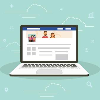 Social networking website surfing concept illustratie van jonge mensen die mobiele gadgets laptop gebruiken om deel uit te maken van de online community.