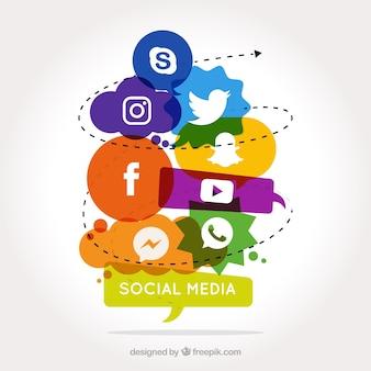 Sociale media achtergrond met gekleurde vormen