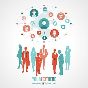 Sociale media mensen communicatiesystemen, illustratie