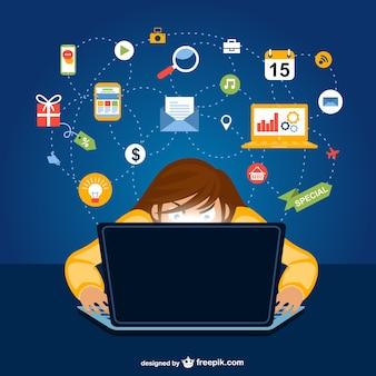 Sociale netwerk van de gebruiker cartoon