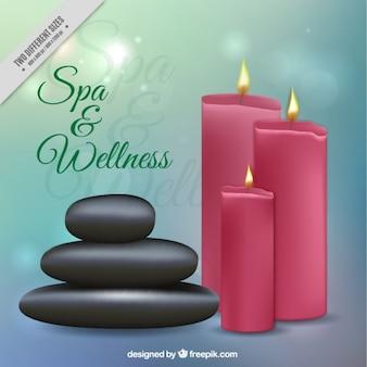 Spa- en wellness-achtergrond met kaarsen en stenen