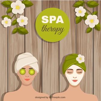 Spa therapie achtergrond met groene elementen
